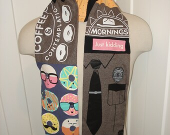 T-Shirt Scarf:  Cops & Donuts, police officer, donut shop, OOAK scarf, whimsical scarf, police whimsy, OOAK gift, police gift, long scarf