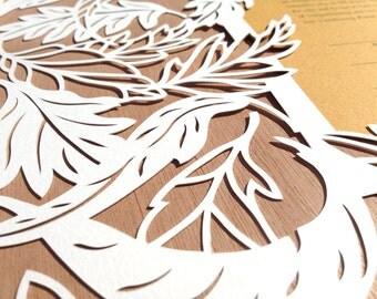 Windy Leaves ketubah papercut heirloom