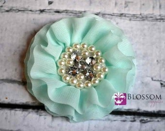 AQUA Flowers - The Rebecca Collection - Ruffled Pearl Rhinestone Chiffon Flowers - DIY Flower Headband & Clip - Blossom Supplies - Wholesale