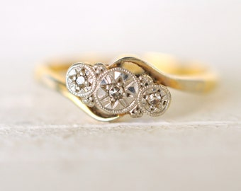 SALE . 1900's Edwardian Diamond Trilogy Engagement Wedding 18k yellow gold and Platinum ring . Past Present Future ring