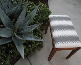 Mid Century Woven Upholstered Bench
