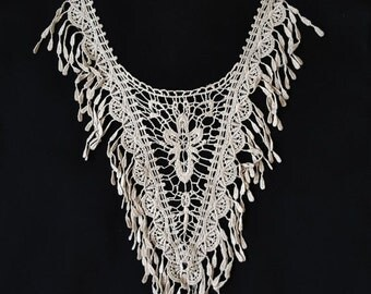 SALE Day Ivory Lace Crocheted Fringe Tassels Garment Necklace Collar, Neck Applique, Yoke Collar