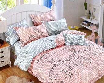 Cotton Twill Fabric, Kids Sheet Quilting fabirc, Cartoon deer fabric, Red pale blue Cotton Fabric 1/2 yard (QT832)