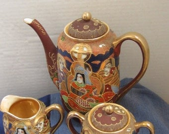 Goose Neck Porcelain Tea Pot,Cream and Sugar Bowl,Satsuma Style, Enamel Gilding,Made in Japan