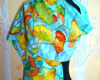 Hand Painted Silk Crepe Scarf of Ginkgo Leaves in Gold, Orange, Lime, Turquoise and Blue