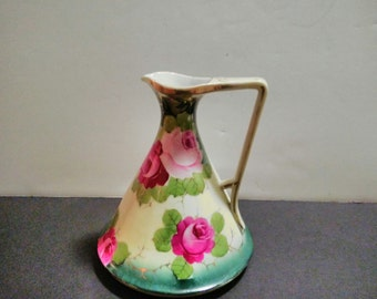 Vintage green and pink pitcher/ewer