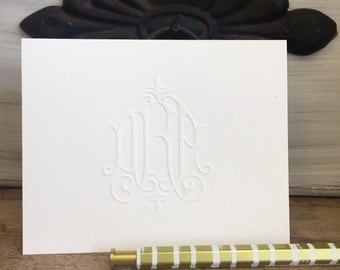 Folded 4x5 Notecards Victorian Embossed Monogram Notes and Blank Envelopes |  Printed by Darby Cards