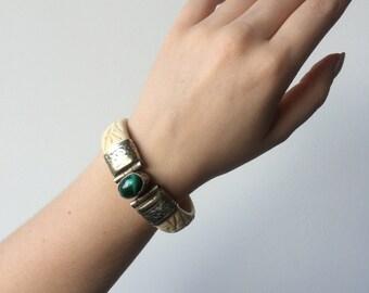 1960's Horn and Malachite Bracelet
