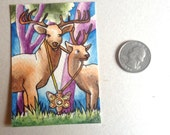 Deer amulet trees surreal mysterious butterfly charm - Original ART ACEO Watercolor - Katie Hone