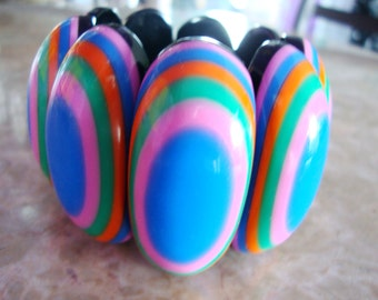 French Designer HUGE VINTAGE OVAL Dome Striped Colors Pink Blue Orange Green Black Paneled Stretch Wide Resin Bangle Bracelet Paris France