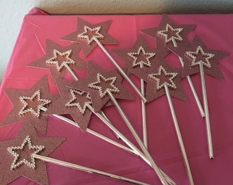 Pink Glittering princess wands princess birthday party