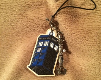 "Doctor Who TARDIS 1.5"" wooden charm with sonic screwdriver"
