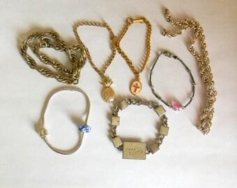 Bracelet Lot, Destash Lot, Jewelry Making, Jewelry Repair Craft Lot, Vintage Chain Bracelets, Wholesale Lot, Re PUrposed, Up cycle, Recycle