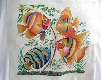 Vtg Colorful Batik by Eric Suriyasena of Tropical Fish Fabric, Wall Decor