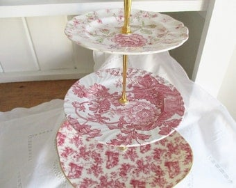 Vintage Johnson Bros. 3 tier pink cake stand, mismatched tea stand, excellent condition