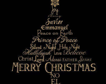 Christmas Tree Gold Glitter Word Art Christian Photographer Overlay for Photoshop PNG