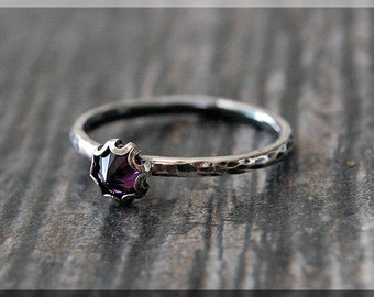 READY to SHIP, Amethyst Ring, Size 6.75, February Birthstone Ring, Mini Inverted gemstone ring, Sterling Silver Ring, Amethyst Stacking Ring