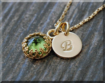 14k Gold Filled August Birthstone Necklace, Peridot Pendant, Personalized Birthstone Charm Necklace, Initial Charm Necklace