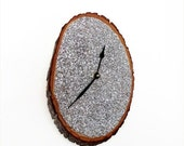 Sale, Rustic Wall Clock, Silver Glitter Clock, Wood Clock,  Unique Wall Clock, Recycled Art, Home and Living, Home Decor, Decor and House