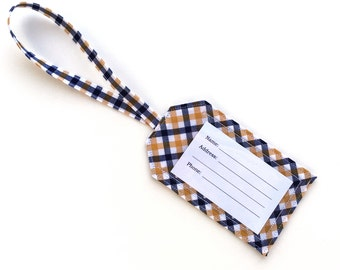 Fabric Luggage Tag- Blue Yellow Checkered- Made w/ Upcycled Fabric- Diaper, Gym Bag ID Tag- Travel Bag- Wedding/ Party Favor- Gift Card Tag