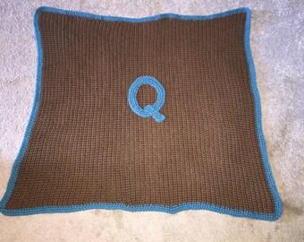 Big, thick custom monogrammed crochet or knit baby blanket