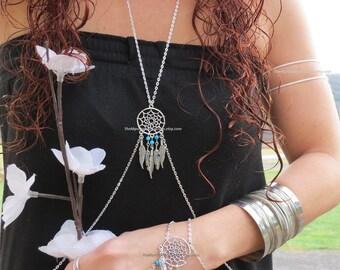 Silver Body Chain, Dream Catcher Jewelry, Belly Chain, Belly Dance, Belly Dancer, Festival Jewelry, Feather Jewelry, Feather Body Chain