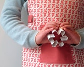 Pink Kids Apron, Montessori Apron for Girls, Children's Art Smock, Handprinted Cotton Canvas, Fits 3-7