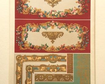 1877 L'Ornement Polychrome Decorative Antique Chromolithograph Gilt 18th Century Decor Print RACINET