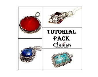 30 % OFF Jewelry Pendants Tutorial Pack 8 Wire Wrapped Pendants Tutorials Jewelry Pendant Tutorial Herringbone Tutorial Wire Wrap Tutorials