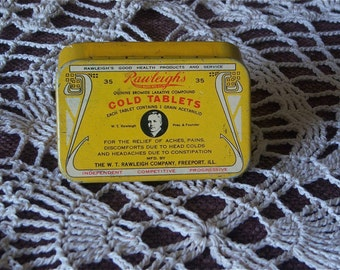 Vintage Rauleigh's Cold Tablets, Cold Medication Tin, Small Medical Collectable Tin, Circa:  40's - 50's, Home Decor, Gift Item