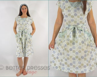 50s House Dress - Blue Floral Wrap Design Housedress - sm, med