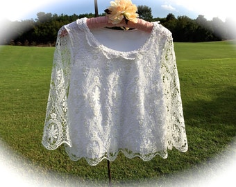 Izzy Roo Sugar White Romantic Lace Stretch Top Gypsy Cowgirl Small/Medium