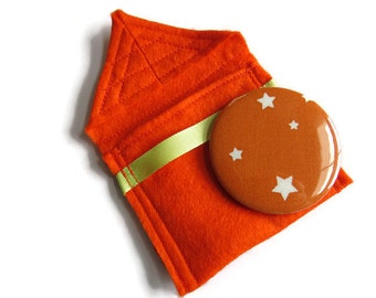 Orange Felt Pouch With Small Pocket Mirror- Fabric Covered Handbag Mirror - Compact Mirror with Pouch