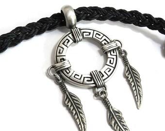 Native style Jewelry - Dream Catcher Necklace - Braided Hemp Necklace - Native American Mens Jewelry