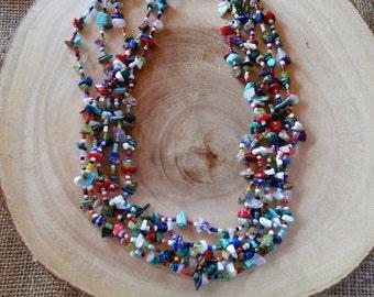 23 - 25 Inch Vintage Multiple Strand Gemstone Beaded Necklace