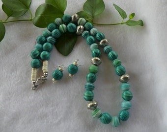 24 Inch Teal and Green Striped Glass and Wood Necklace with Earrings