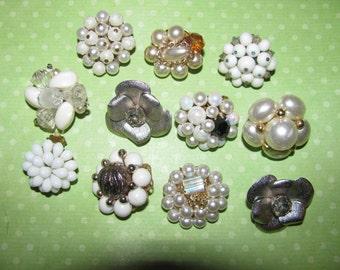 Vintage Mismatched Earrings Lot for Parts Crafts Beaded Destashed
