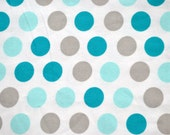 Polka dots.  fabric by the yard.  Baby boys.  Cut by the 1/2 yard (18 inches, 45.72 cm).  White, blue, turquoise, gray.