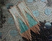 Long Chic Mint Teal Gold 4 1/2 inch delica hand beaded Boho Hippie Native style OOAK earrings