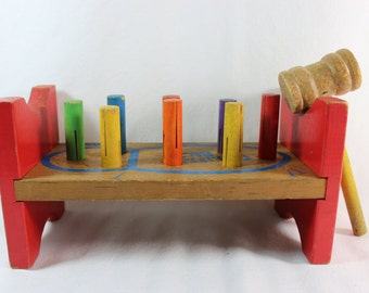 Vintage Wooden Playskool Cobbler's Bench with Hammer 1950's