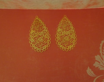 Laser Lace Filigree Findings, Bright Gold Plated (2)