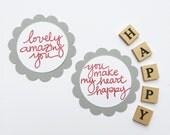 Round Favor Tags - Love, Happy, Valentine, Wedding