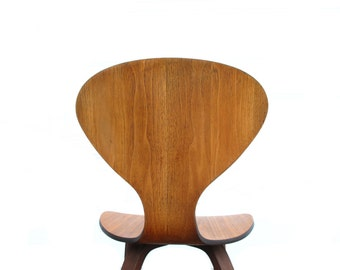 1950's Moulded Walnut Accent Chair