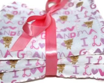 Baby girl burp cloths-flannel burp cloths- baby burp cloths-I love grandma- cloth diaper- burp rag- burp pad- new baby gifts- burp cloth set