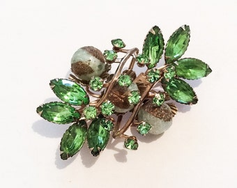 Green Art Glass Brooch, 1940s Vintage Jewelry, Gift for Her SPRING SALE  Mother's Day