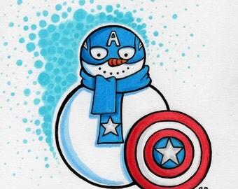 ORIGINAL Captain America Snowman drawing