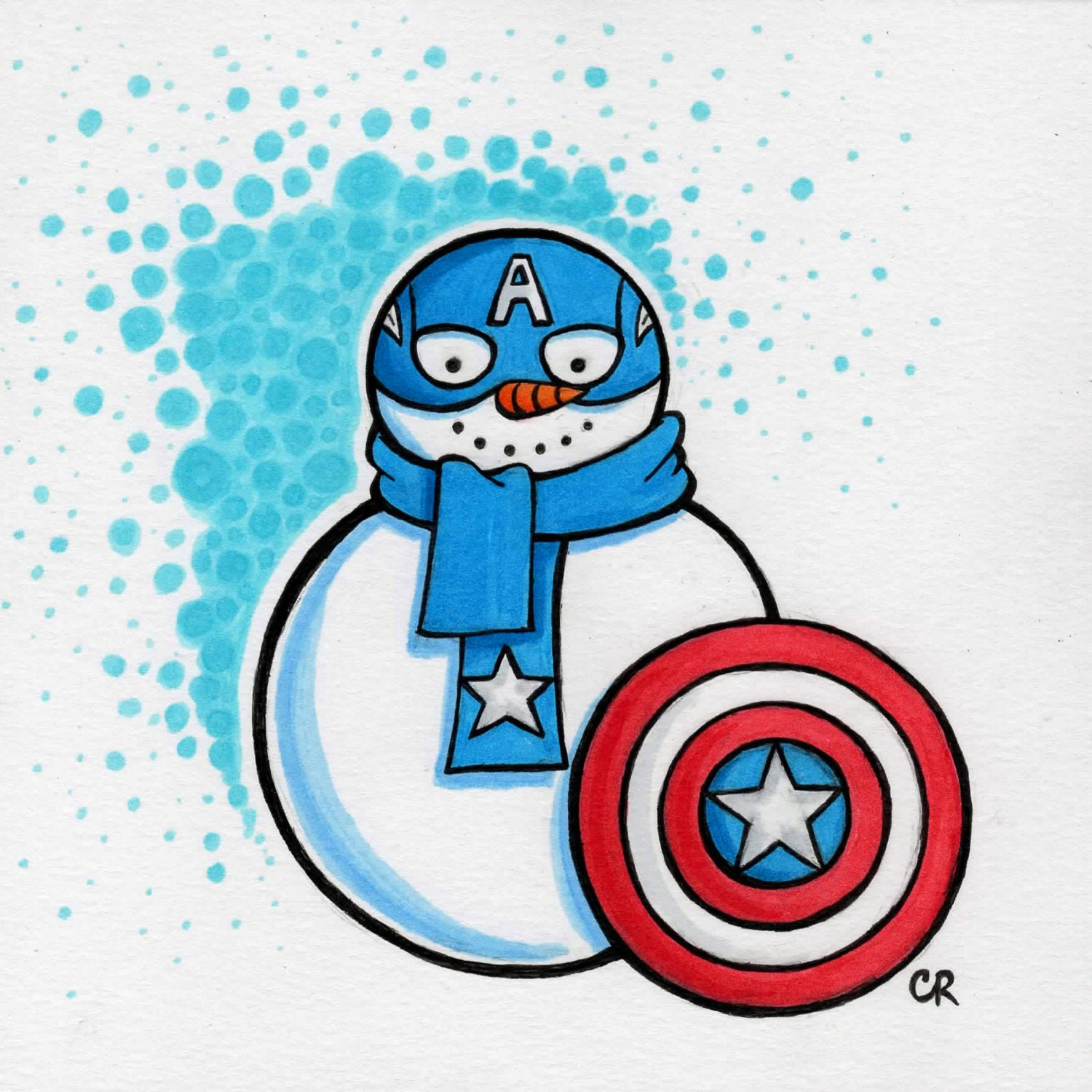 ORIGINAL Captain America Snowman drawing