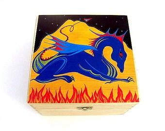 Large wooden keepsake box, Memory box, Trinket box, Dragon design printed box - Free personalisation.