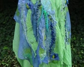 Felted scarf, 2 silk layers, , soft and delicate ,hand made,organic scarf,design shawl, wearable art,fashion scarf,perfect gift,fairy design
