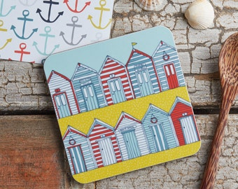 Beach Huts melamine coaster - Illustrative kitchen products from Jessica Hogarth Designs - Manufactured in the UK. Cork backed coaster